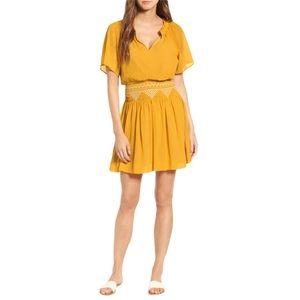 MADEWELL Yellow Smocked Embroidered Mini Dress 10
